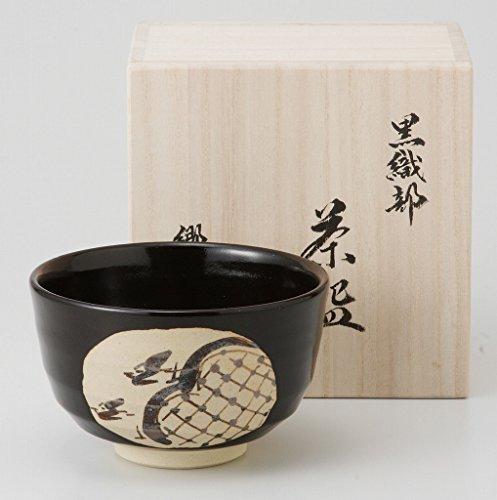 Mino Yaki Black Oribe Pottery 4.9inch Matcha Bowl by Watou.asia
