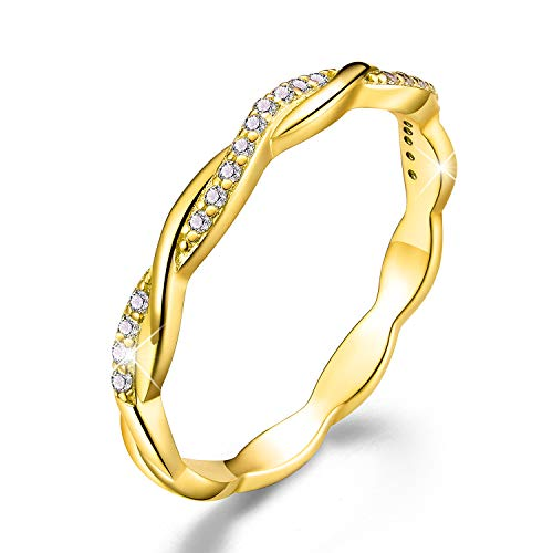 Esberry 18K Gold Plating 925 Sterling Silver Twisted Band Rings Cubic Zirconia Stackable Rings CZ Simulated Diamond Eternity Bands Engagement Wedding Bands for Women (Yellow Gold, 8)