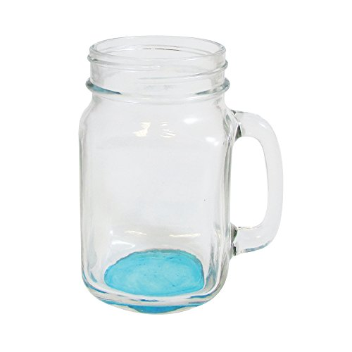 Mason Jar Mug with Handle 15 oz Drinking Glass (Blue)