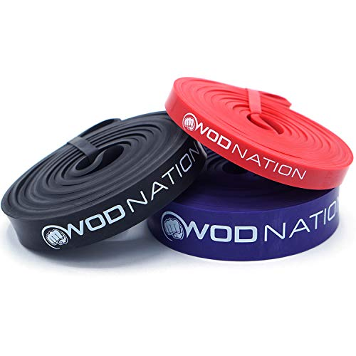 WOD Nation Pull up Assistance Band Set Best for Pullup Assist, Chin Ups, Resistance Band Exercise, Stretch, Mobility Work & Serious Fitness – Set of 41 inch Straps | 1 Black 1 Red 1 Purple