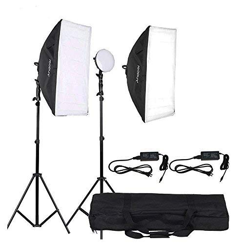 Andoer Photography Lighting Studio Light Kit with 2 30W LED Lamp + 2 Softbox 2 Light Stand + 1 Carrying Bag