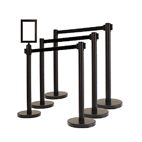 Retractable Stanchion, 6 Posts + Signframe, 36'' Ht, 78'' Black Belt by Crowd Control Center