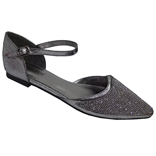 Absolutely Gorgeous Boutique Womens Diamante Low Flat Ankle Strap Evening Wedding Holiday Summer Sandal Pewter 78ldHDDK