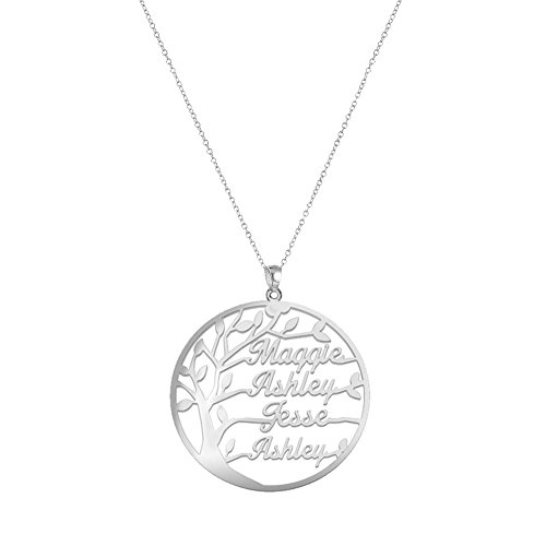 Ouslier 925 Sterling Silver Personalized Circle Family Tree Name Necklace Custom Made with 4 Names (Personalized Family Tree Necklace)