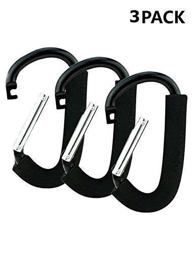 Gorse XLarge Carabiner Aluminum Stroller Hook,Stroller Hooks Set Hanger Organizer Accessories for Shopping Bags, Purses Black by Gorse (Image #1)