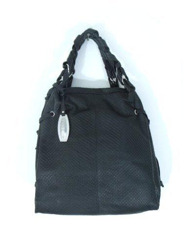 NICOLI Black Designer Italian Leather Handbag Purse Tote Bag
