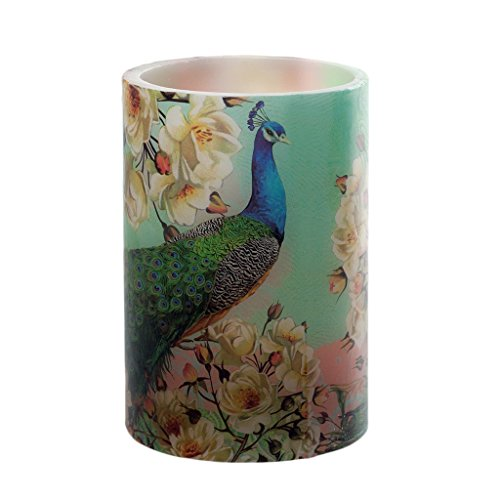 River of Goods Floral Peacock High Flameless LED Candle
