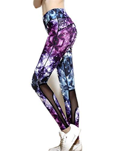 YHHBA Femeninos delgados pantalones de yoga absorbente de sudor correr transpirable para la aptitud de impresión Pantalón tobillero yoga-0028