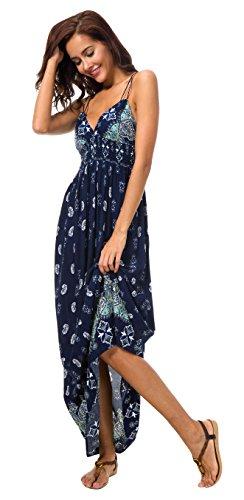Urban GoCo Mujer Vestido Largo Maxi de Verano Elegante Boho Backless Sundress para Boda Playas Fiesta Noche Azul Marino