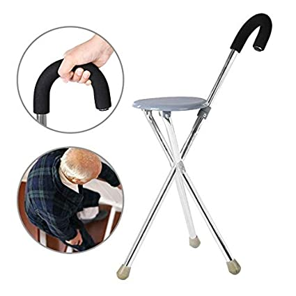 Amazon.com : Yayue Folding Walking Stick Tripod Stool ...