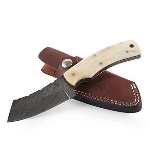 """Knives Ranch Damascus Steel Knives 8"""" Fixed Blade Knife – Bone Handle with Brass Liner INCLUDES: Leather Vertical Belt Loop Sheath"""