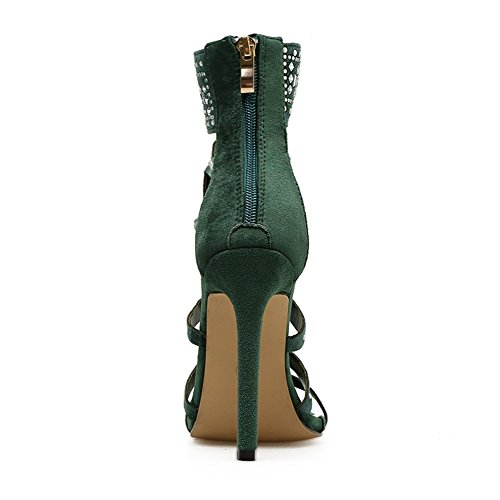 Sólido Shoes Tacón UK6 de Mujer EU39 Roman Sandalias High Heel Boots Cool Laser Hollow Alto de Suede Color Rhinestones SASA 0BSqAzn
