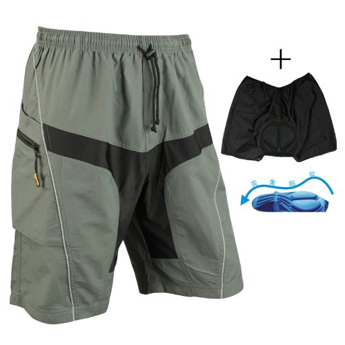 SANTIC Cycling Short Casual Short with Pad Detachable Liner Gray (M)