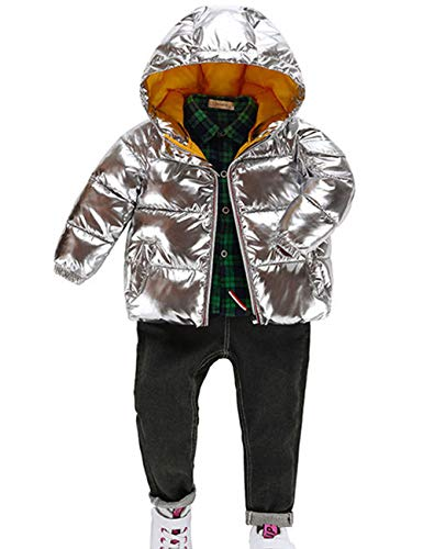 Kids Quilted Girls Silver Snowproof Jacket Warm Winter Shining BESBOMIG Ultralight Outwear Cute Hooded Fashion Boys Waterproof Padded for Cotton twSAqTW