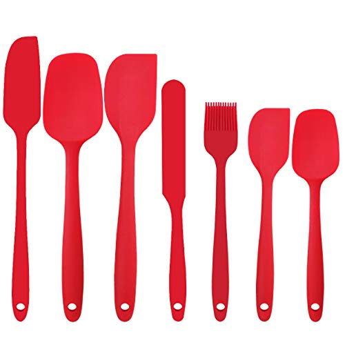 - Silicone Spatula Set - 7-Piece Spatulas Silicone Heat Resistant & Non-Stick, for Cooking, Baking and Mixing - BPA Free and FDA Approved With Stainless Steel Core (Red)