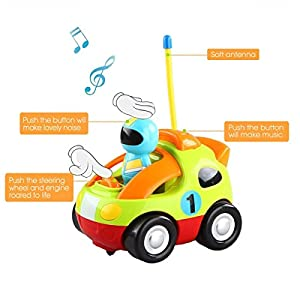 Haktoys My First RC Cartoon Race Car with Music Button and LED Headlights | Safe and Durable | Learning to Drive, Great Gift Racing Action Figure Radio Control Toy for Toddlers, Kids, Boys and Girls