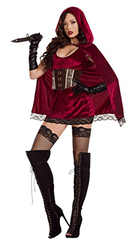 - Starline Red Riding Hood Velvet Lace Women's Costume, As Shown, Small
