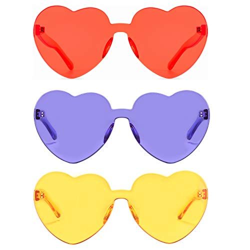 (One Piece Heart Shaped Rimless Sunglasses Transparent Candy Color Eyewear (Yellow+purple+coral) )