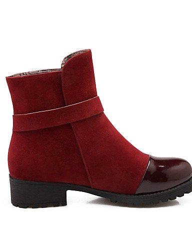 Botines Rojo 10 Xzz Robusto Negro Tacón Black Mujer Cuero Eu41 5 us8 Casual Zapatos Punta Vestido Uk7 Eu39 Botas Cn42 Vellón De Brown Uk6 us9 8 Cn39 Redonda 5 Patentado Marrón xX6RXqa