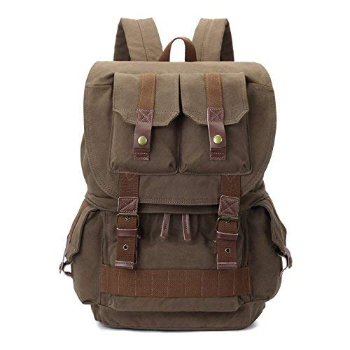 Camera Backpack Canvas DSLR Backpack with Rain Cover Hiking Backpack for Nikon,Canon,Sony,Pentax Olympus and etc (Army Green)