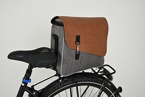 Fischer Erwachsene mit Gepäckträgerbefestigung Business Tasche, Grau/Braun, One Size