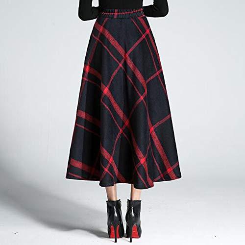 1462/5000 Femmes Taille Haute Automne Hiver Plaid Pliss Chaud paisse Laine Laine Jupe Longue Jupe Dcontracte A-Ligne Red