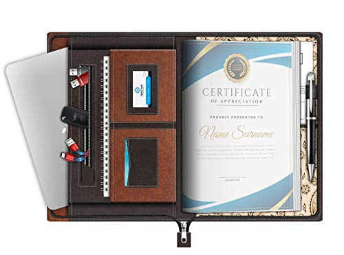 FEDUS Multipurpose Leatherette Professional File Folders for Certificates,Documents Holder, Document Bag,Portfolio, Executive File Legal Size Documents Holder with 20 Leafs for Men and Women