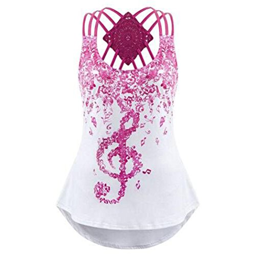 Wintialy Ladies' Bandages Sleeveless Vest Top Musical Notes Print Strappy Tank Tops (XX-Large, Hot Pink) ()