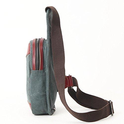 mefly Moda Nuevo capa de piel inclinado de bolso bandolera hombres aleatorio Trend bolsa del pecho, negro Lake Green