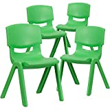 Flash Furniture 4 Pack Green Plastic Stackable