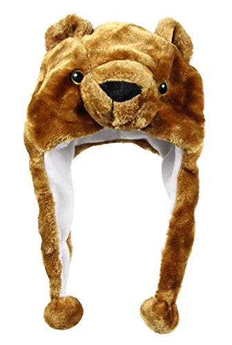Bioterti Plush Fun Animal Hats –One Size Cap - 100% Polyester with Fleece Lining (Brown-Bear)