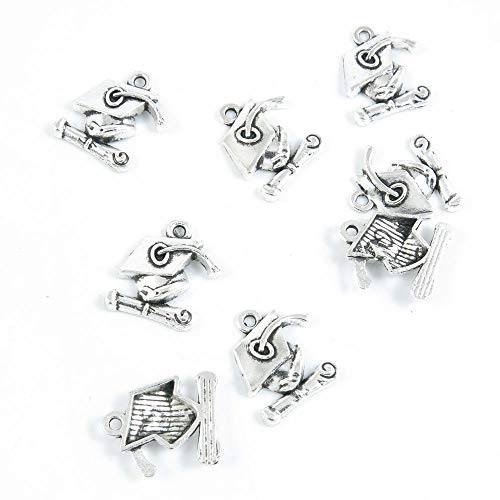 (2070 Pieces Antique Silver Tone Jewelry Making Charms Crafting Beading Craft Z7BD4 Mortarboard Trencher)