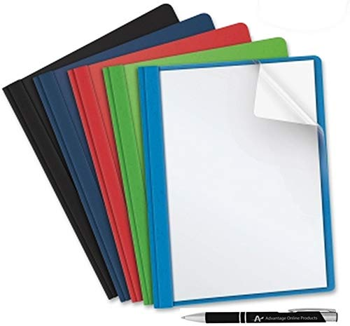 Business Source Clear Front Report Covers with 3 Prongs, Letter Size, 5 Each, Assorted Colors Includes Black, Light Blue, Navy Blue, Red and Green. Also Includes AdvantageOP Custom Retractable ()