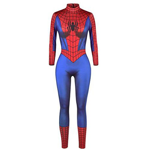Elakaka Halloween Spiderman Women's Costume, Stretch Sexy Overall Jumpsuit for Masquerade & Cosplay (Spiderman Costumes In India)