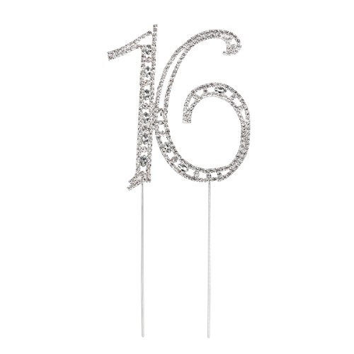Birthday Party Cake Topper (Pixnor Sweet 16 Cake Topper Rhinestone Number Sixteen 16th Birthday Party Decoration)