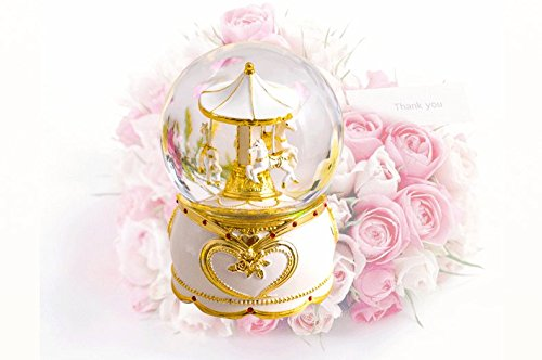 NON ROCK Carousel Horse Crystal Ball Christmas Musical Box Luxury Small Color Change Luminous Rotating by NON ROCK (Image #2)