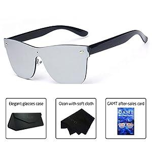 GAMT Wayfarer Sunglasses Integral Mirrored Lens Metal Frame Silver