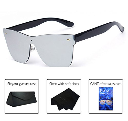 Lens Rimless Sunglasses Shades - GAMT Wayfarer Sunglasses Integral Mirrored Lens Metal Frame Silver
