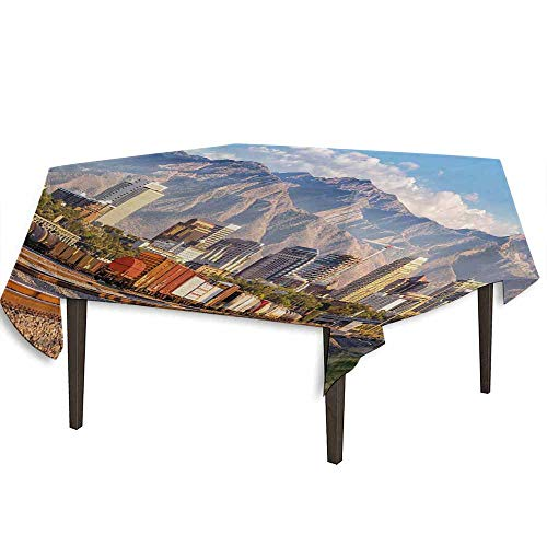 kangkaishi Landscape Detachable Washable Tablecloth Downtown Salt Lake City Skyline in Utah USA Railroads Mountains Buildings Urban Great for Parties Festivals etc. W70 x L70 Inch Multicolor]()