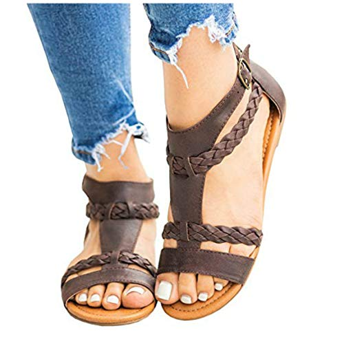 Womens Gladiator Strappy Flat Open Toe Lace Up Criss Cross Strap Ankle Wrap Summer Beach Thongs Sandals (10 M US, G Dark-Brown)