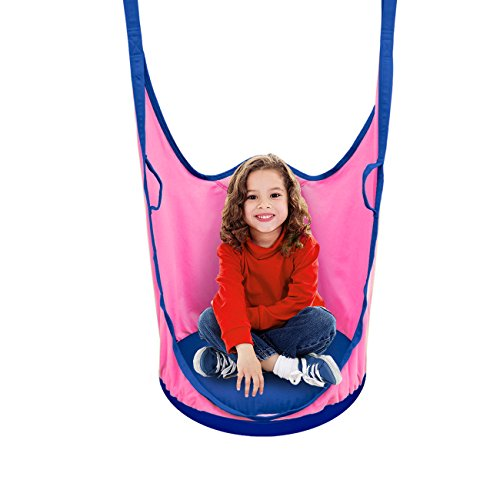Sorbus Kids Pod Swing Chair Nook - Hanging Seat Hammock Nest for Indoor and Outdoor Use – Great for Children, All Accessories Included (Pod Pink) by Sorbus