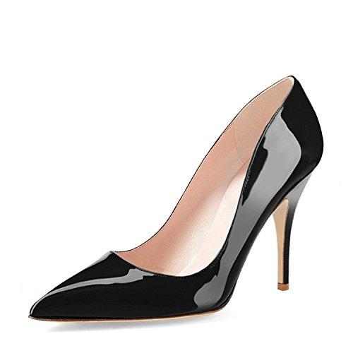 - YDN Women Classic Mid Heel Pumps Pointy Toe Slip on Formal Stilettos Office Shoes 9 (Black)