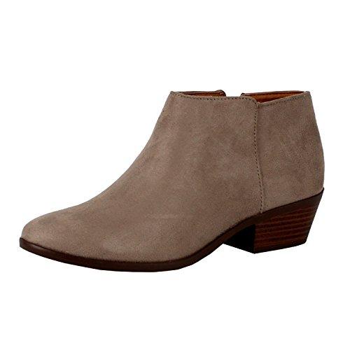 (SODA Women's Western Inside Zipper Stacked Heel Ankle Booties Clay Faux Suede 6)