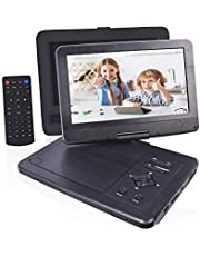 "PJGCWB 12.1'' Portable DVD Player with 10.1"" HD Swivel Display Screen, 5 Hour Rechargeable Battery, Portable DVD Player for Kids, Supports SD Card/USB/CD/DVD/Sync TV, with Extra Headrest Mount Case"