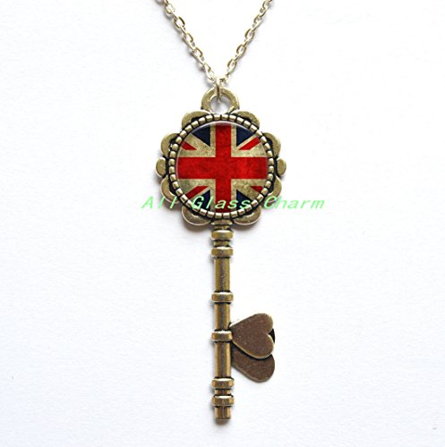 (Charming Key Necklace,Beautiful Key Necklace,Union Jack British Flag - Key Necklace Key Pendant - Union JackJewellery - UK Flag Key Pendant - Great Britain Flag Key Necklace,AS077)