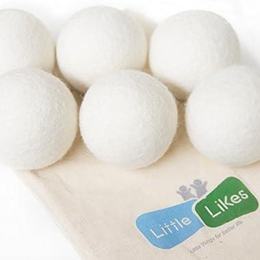Little-Likes 6-Pack XL Premium 100% Wool Dryer Balls, 100% Organic Wool - Handmade - Eco-friendly - Natural Fabric Softener, Great Gift!!