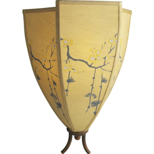 Progress Lighting P2777-112 Three-Light Wall Fixture with Silk Shade Featuring Masterfully Hand-Painted Cherry Blossom Motifs Supported By Bamboo-Styled Frames, Burnished Rattan