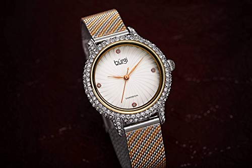 Burgi Swarovski Crystal Studded Case Watch - Embossed Whirlwind Patterned Dial with 4 Hand-Applied Genuine Diamond Markers On Comfortable Mesh Bracelet - BUR250