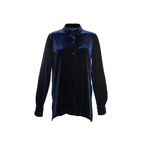 88c5e1aef HaoDuoYi Womens Turn-down Collar Long Sleeve Velvet Boyfriend Shirt(M,Dark  Blue) - Buy Online in Oman. | Apparel Products in Oman - See Prices, ...
