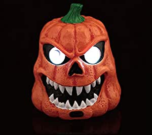 Halloween Pumpkin Jack-O-Lantern with Sensitive Motion Sensor Triggers the Glowing Eyes and Preset Voice to Surprise.